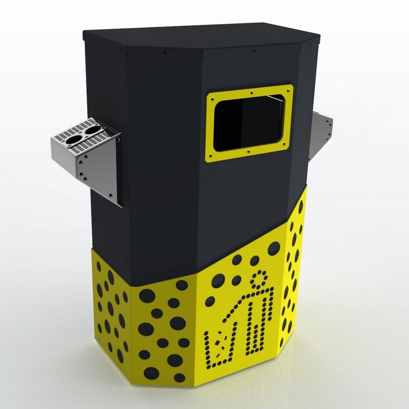 Мусорный контейнер желтого цвета